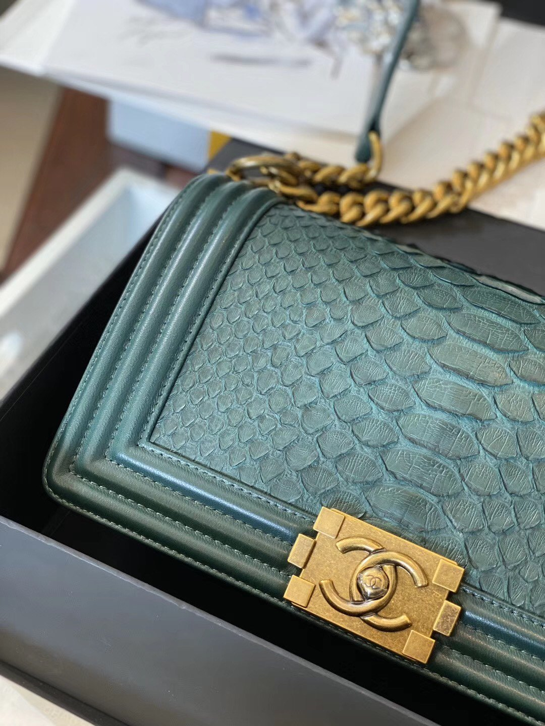 Replica Boy Chanel Bag South African Python Skin with Imported Sheepskin 020