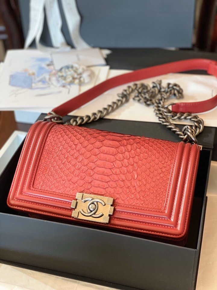 Replica Boy Chanel Bag South African Python Skin with Imported Sheepskin 022