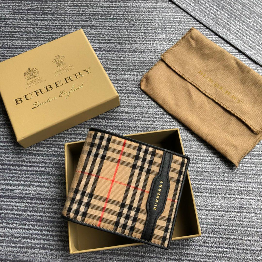 2018 NEW Replica Burberry Men Check and Leather Wallet Black