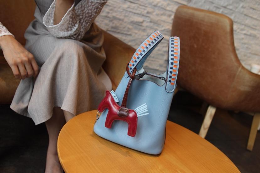 2018 New Replcia Hermes Picotin Lock Bag 22cm 24cm with Braided Handles Empsom Calfskin Blue