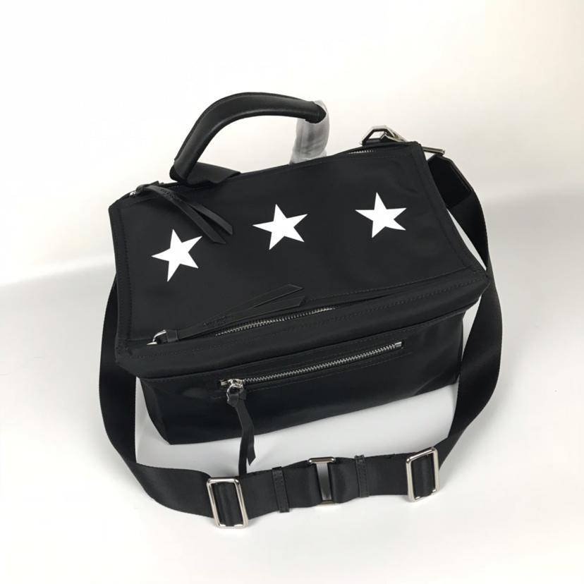 AAA Givenchy Men Blurred 3 Stars Pandora Messenger Bag Black Nylon