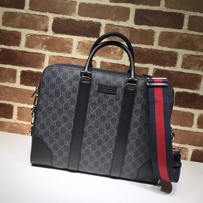 AAA Gucci 474135 Men GG Black Briefcase