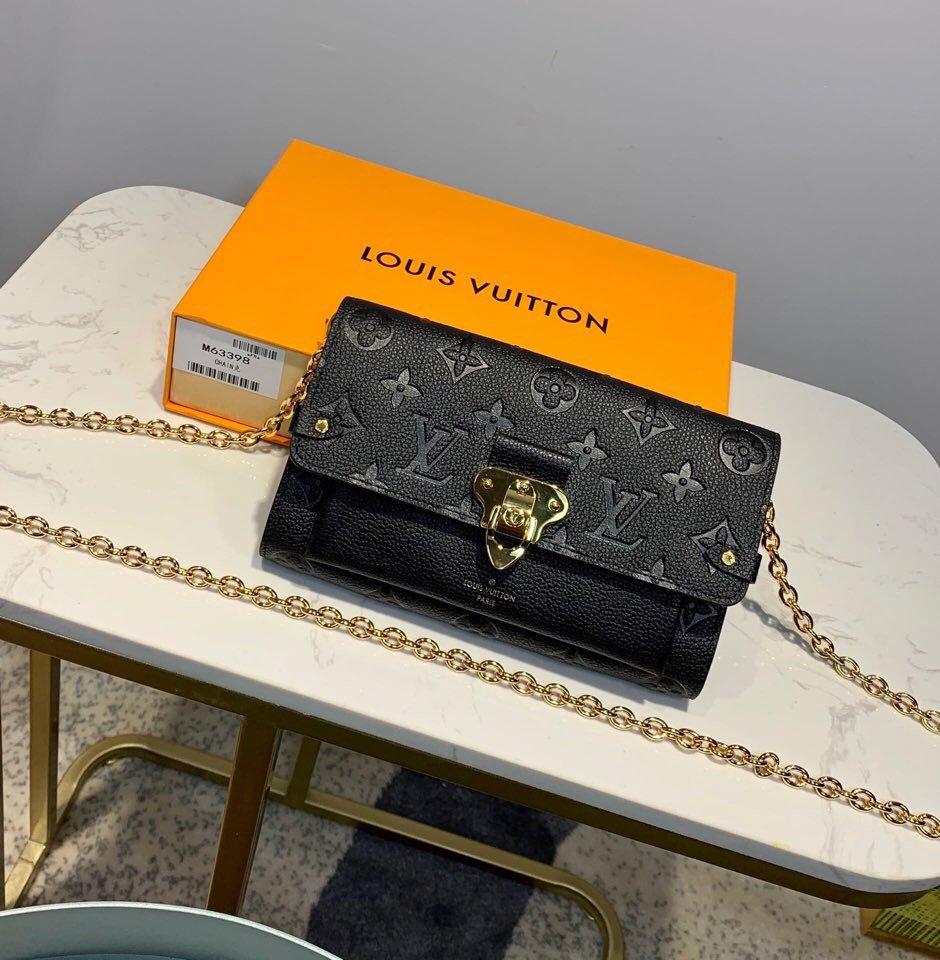 AAA Louis Vuitton M63399 Vavin Chain Wallet in Soft Monogram Empreinte Leather Black