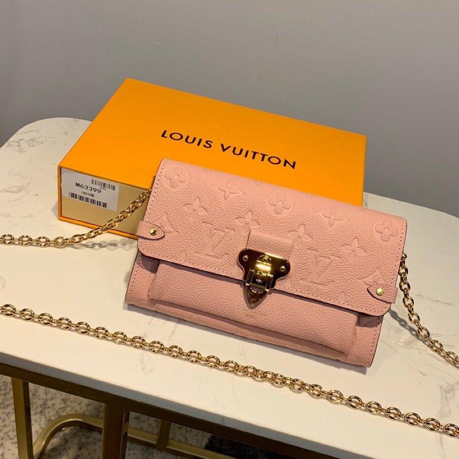 AAA Louis Vuitton M63399 Vavin Chain Wallet in Soft Monogram Empreinte Leather Pink