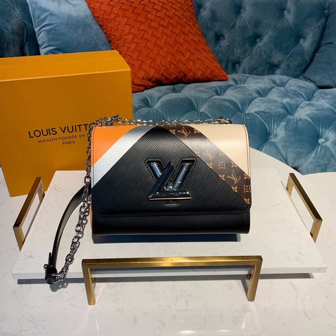 AAA Louis Vuitton M67799 Twist Compact Wallet with a stripe in Iconic Monogram Pattern Black
