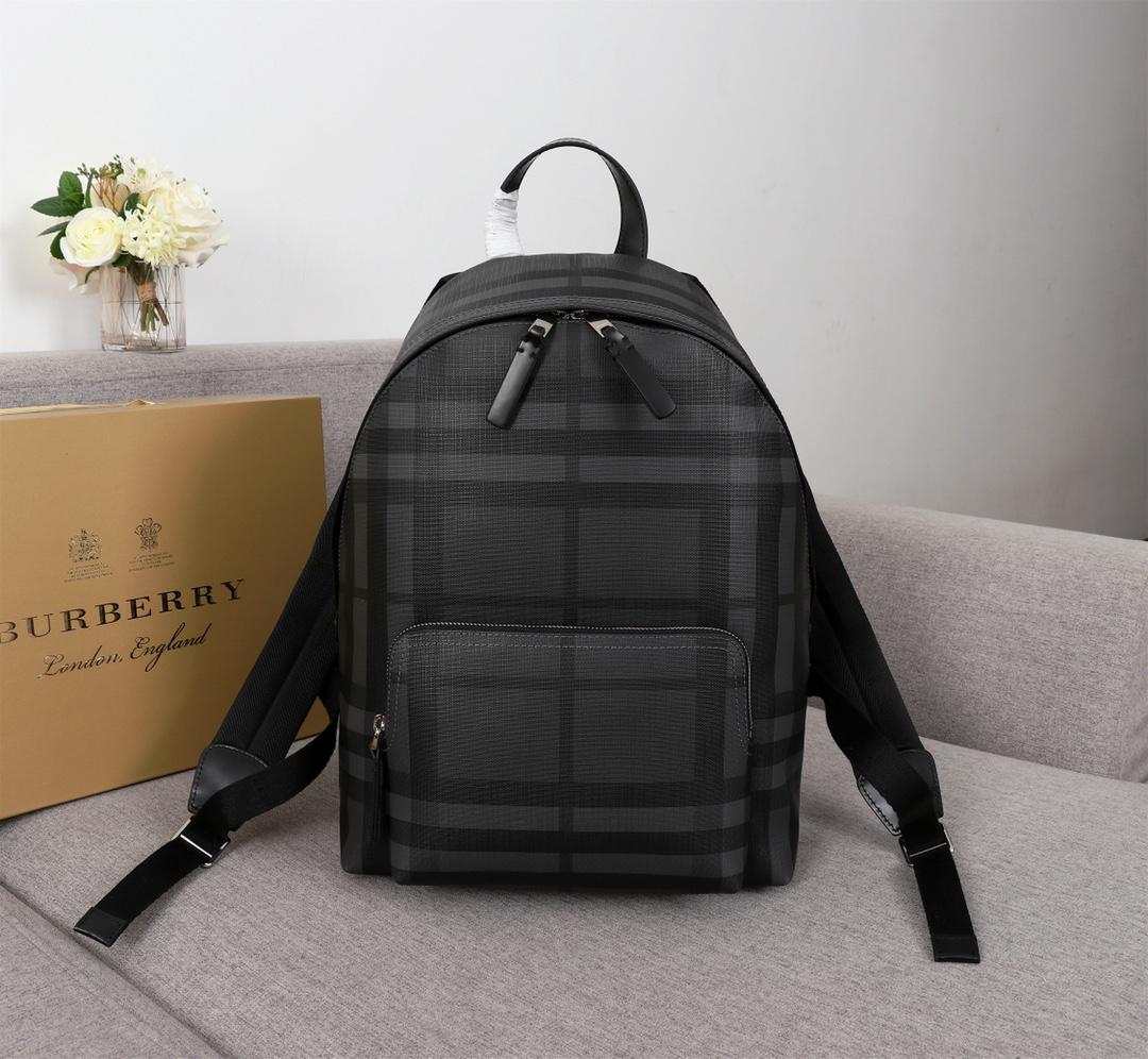 AAA Replica Burberry 40315661 Men Leather Trim London Check Backpack Black
