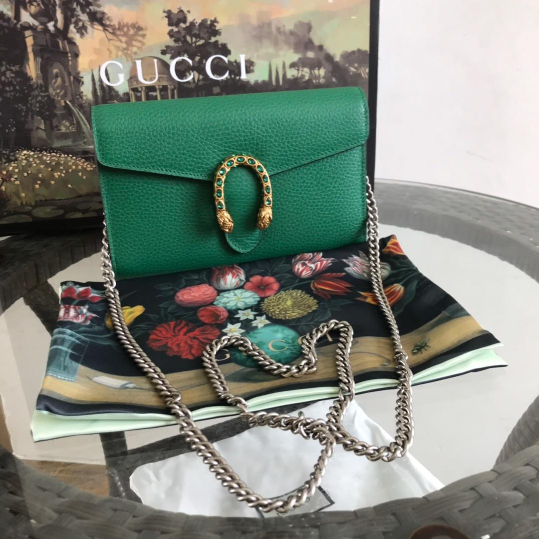 AAA Replica Gucci Dionysus Mini Leather Chain Bag Green 401231