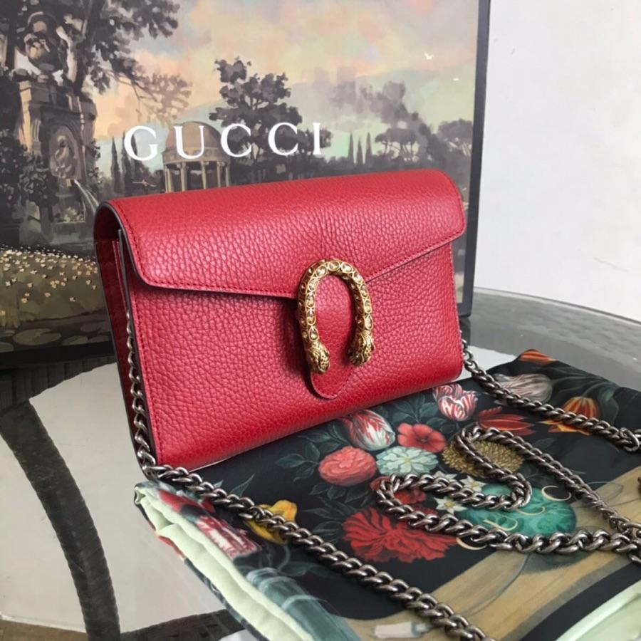 AAA Replica Gucci Dionysus Mini Leather Chain Bag Red 401231