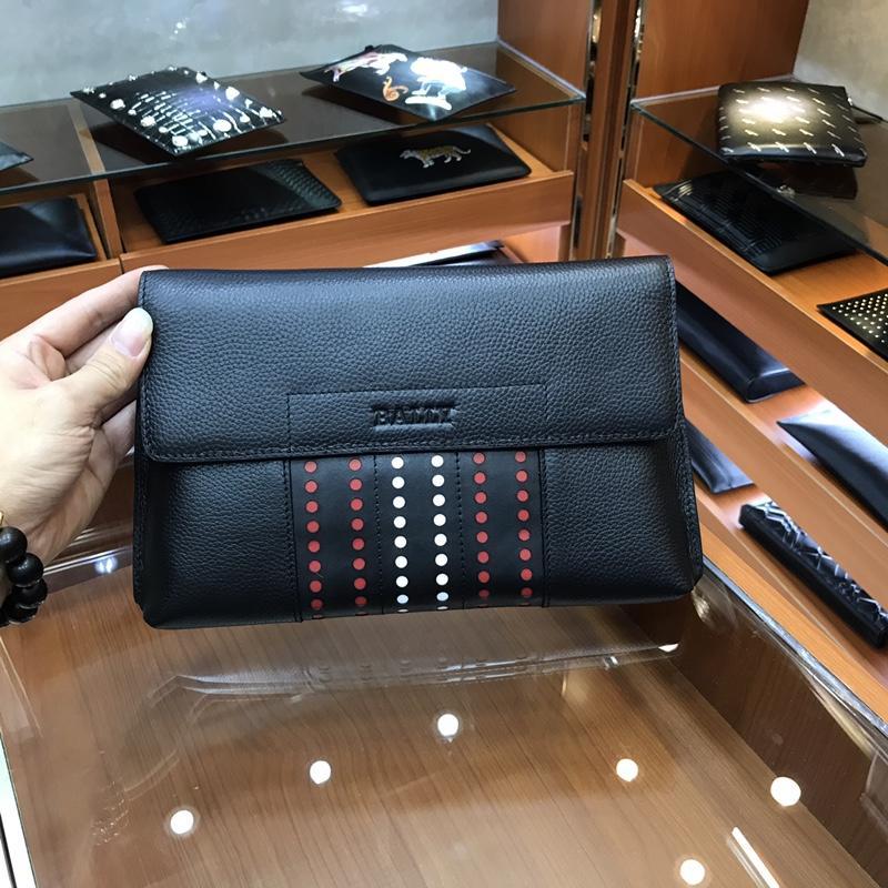 Bally 3174-7 Men Leather Zipper Clutch Bag Black