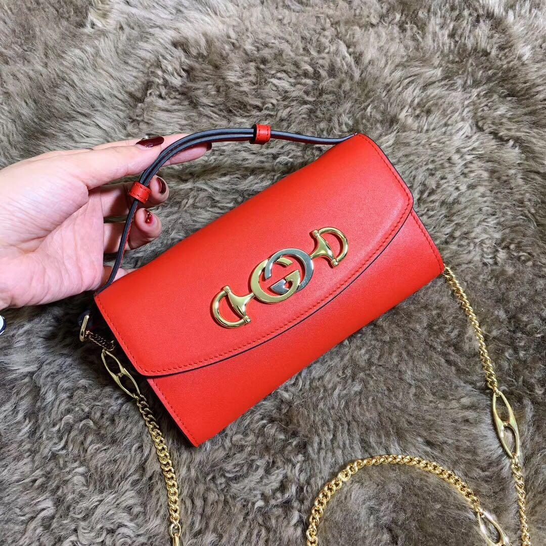 Best Price Gucci 564718 Zumi Smooth Leather Mini Bag Red