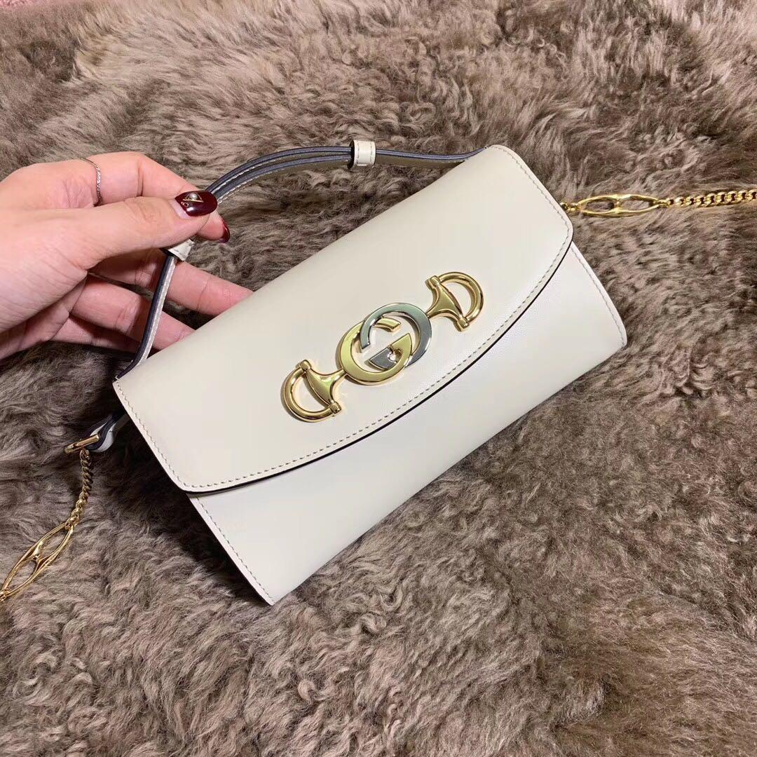 Best Price Gucci 564718 Zumi Smooth Leather Mini Bag White