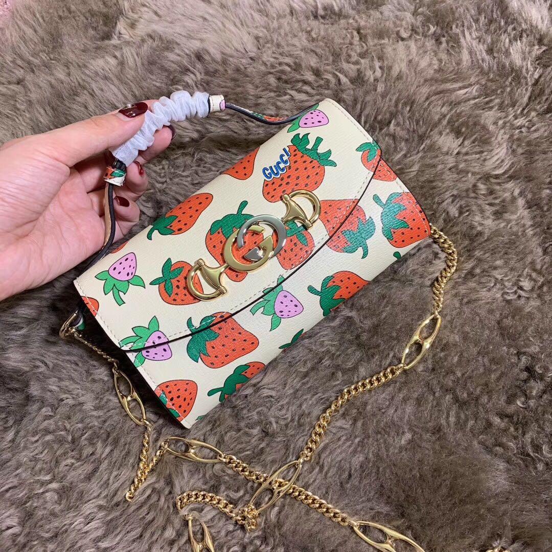 Best Price Gucci 564718 Zumi Strawberry Print Mini Bag