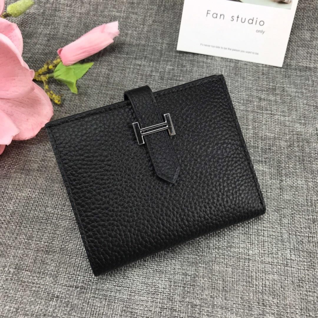 Best Price H5120 Hermes Bearn Short Wallet in Epsom Calfskin Black