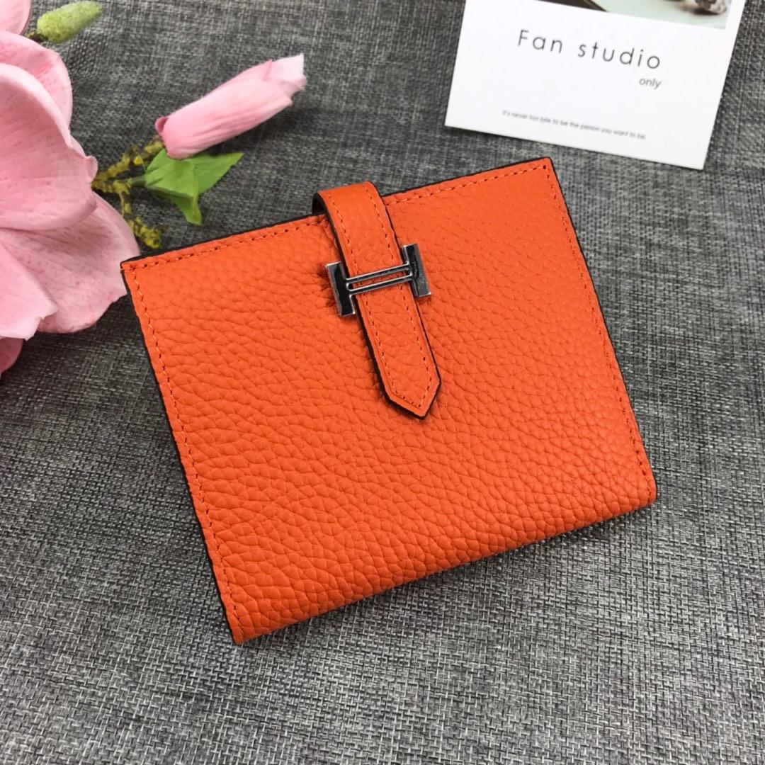Best Price H5120 Hermes Bearn Short Wallet in Epsom Calfskin Orange