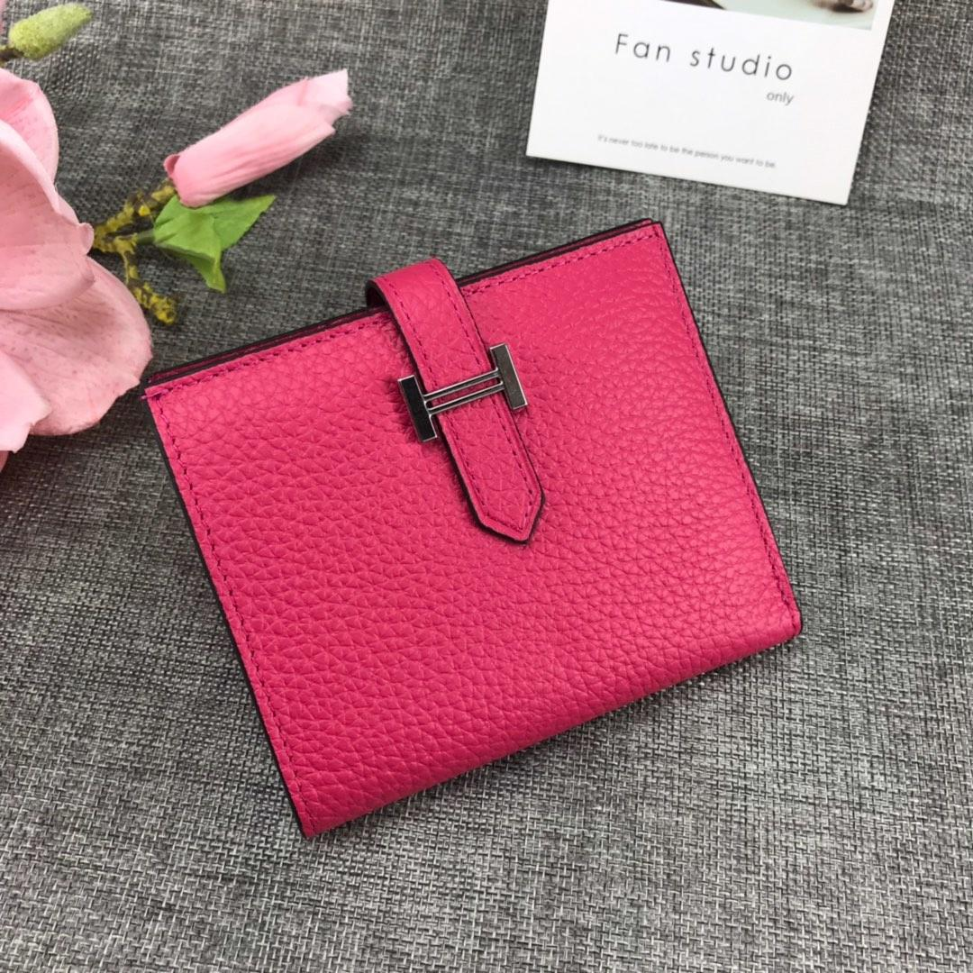 Best Price H5120 Hermes Bearn Short Wallet in Epsom Calfskin Pink