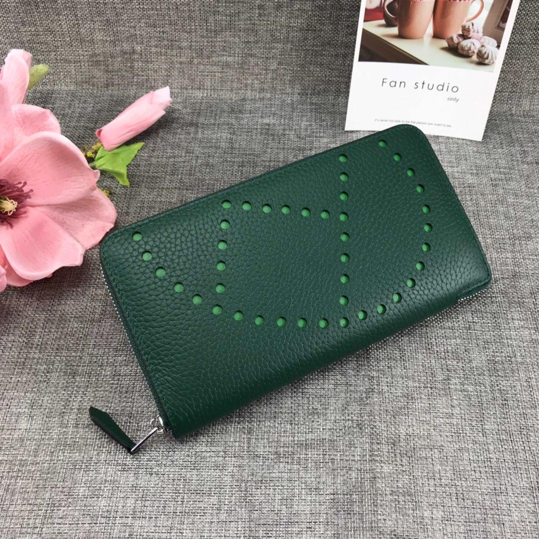 Best Price Hermes H505 Long Punching H Women Wallet Green