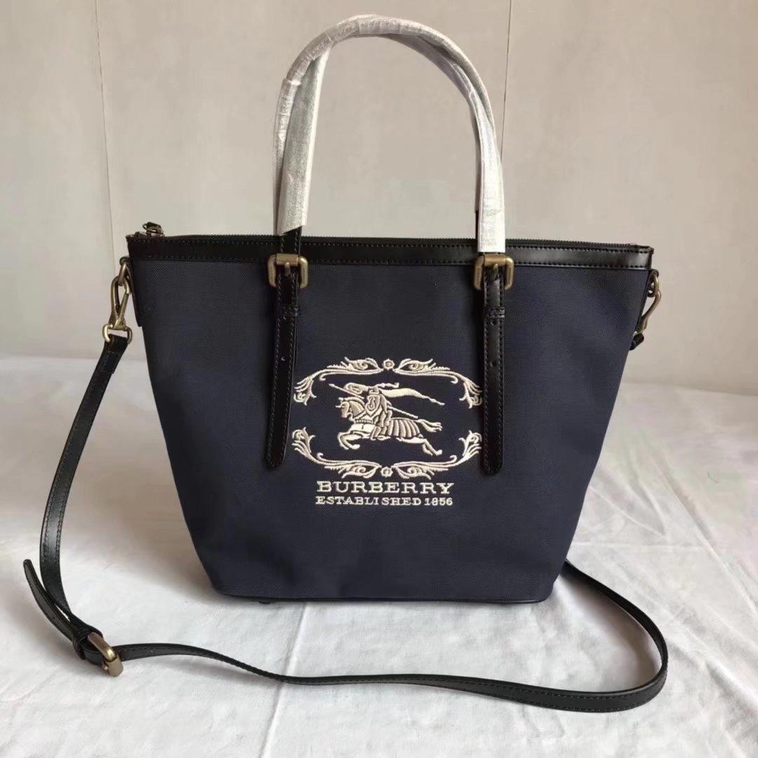 Burberry BR002 Women Shopping Shoulder Bag Blue And Black