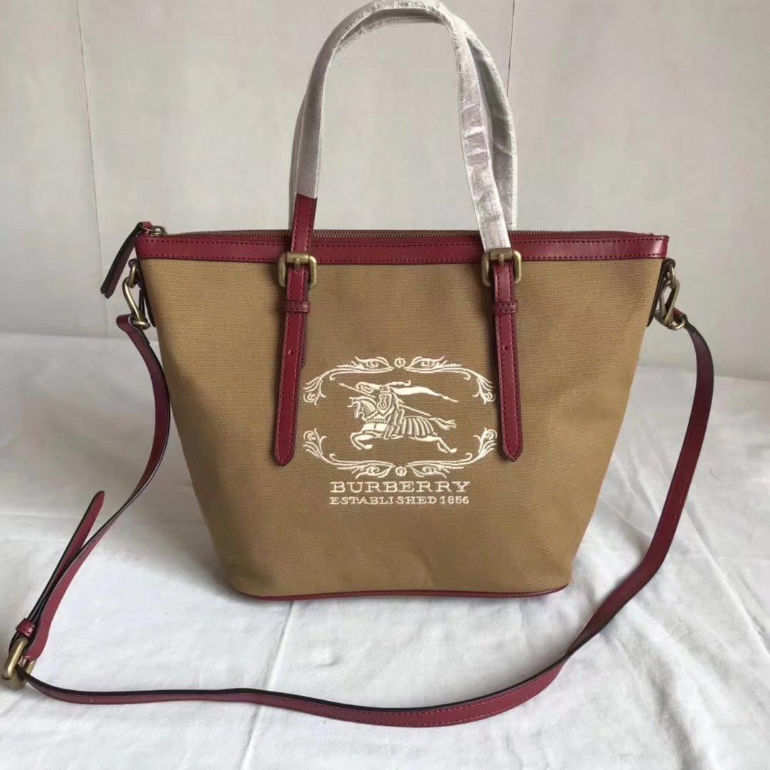 Burberry BR002 Women Shopping Shoulder Bag Khaki