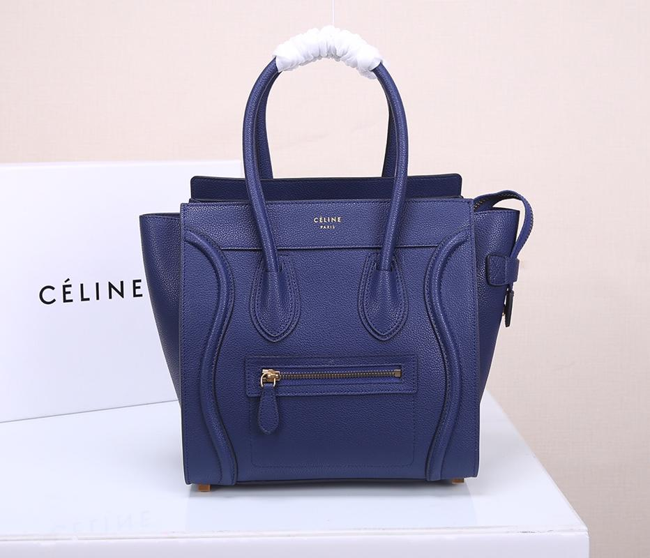 Celine Micro Luggage Handbag In Satinated Natural Calfskin Blue