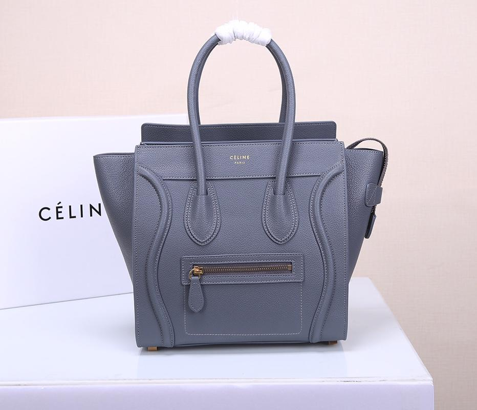 Celine Micro Luggage Handbag In Satinated Natural Calfskin Light Blue