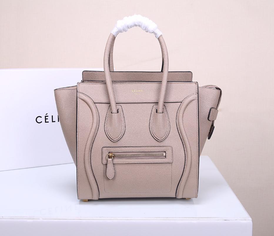 Celine Micro Luggage Handbag In Satinated Natural Calfskin Light Grey