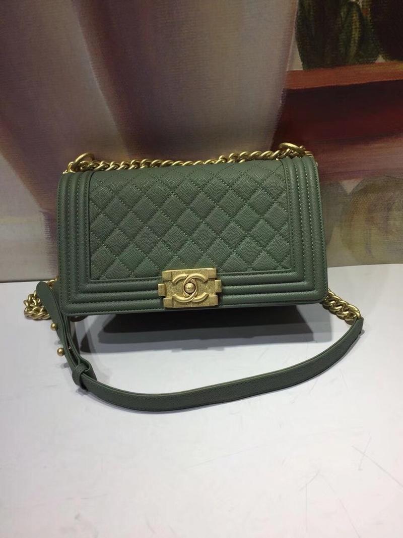 Chanel 25cm Boy Caviar Handbag Calfskin Gold Tone Dark Wood