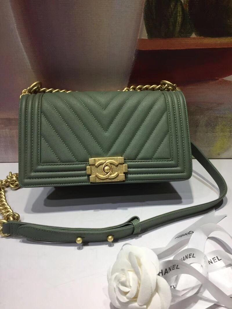 Chanel 25cm Boy Handbag Calfskin Gold Tone Metal Dark Wood