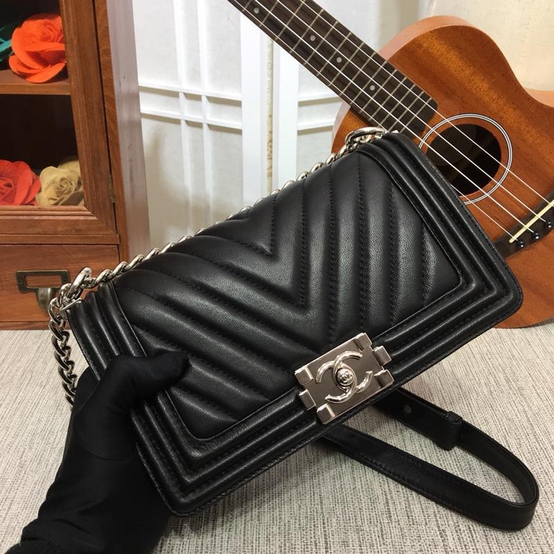 Chanel 25cm Boy Handbag Calfskin Silver Tone Metal Black