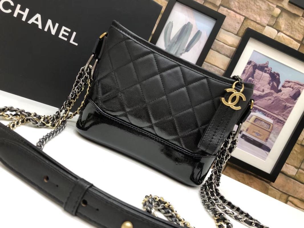 Chanel A9824 Gabrielle Small Hobo Bag Denim Calfskin Gold Tone Metal Black