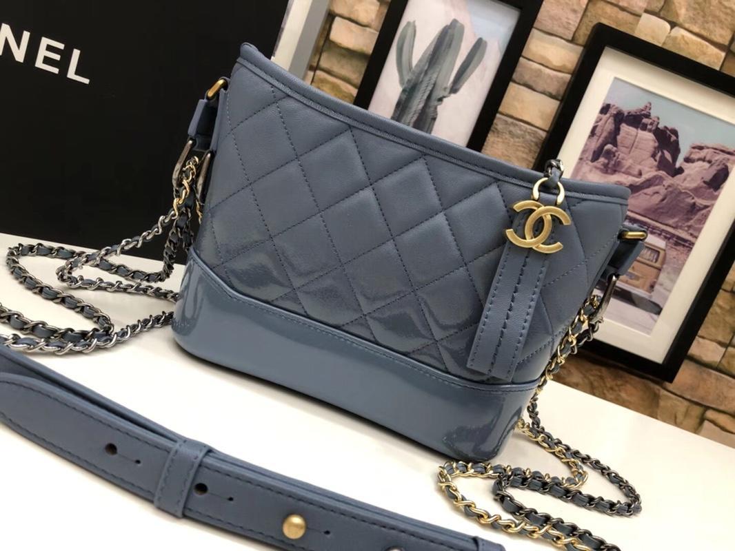 Original Chanel A9824 Gabrielle Small Hobo Bag Denim Calfskin Gold Tone Metal Blue