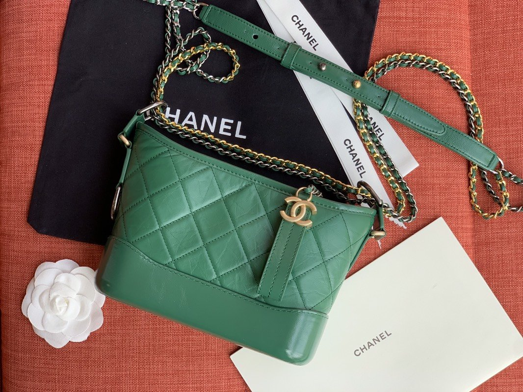 Chanel A9824 Gabrielle Small Hobo Bag Denim Calfskin Gold Tone Metal Green