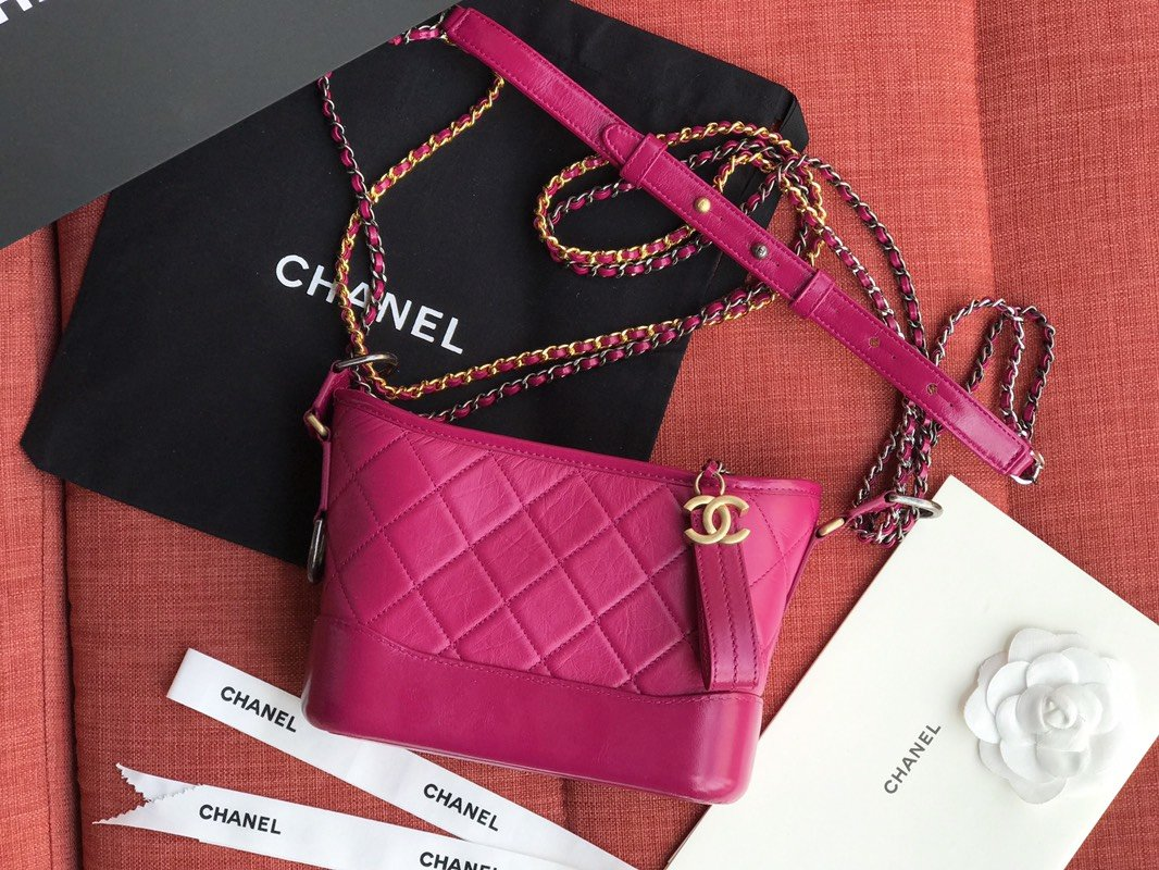 Chanel A9824 Gabrielle Small Hobo Bag Denim Calfskin Gold Tone Metal Rose