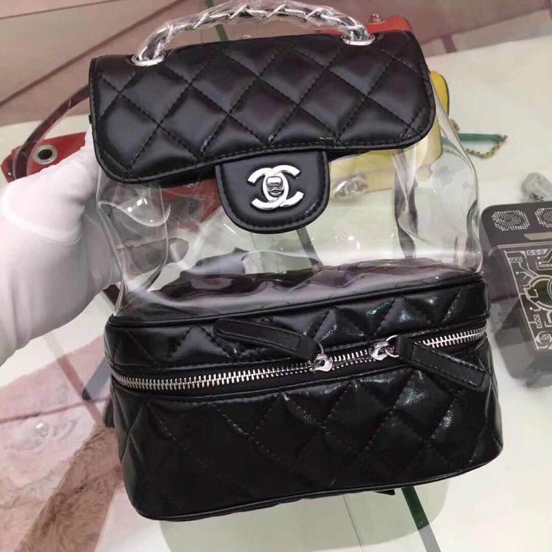 Chanel Flap Bag Crumpled Calfskin PVC Resin Silver Tone Metal Black