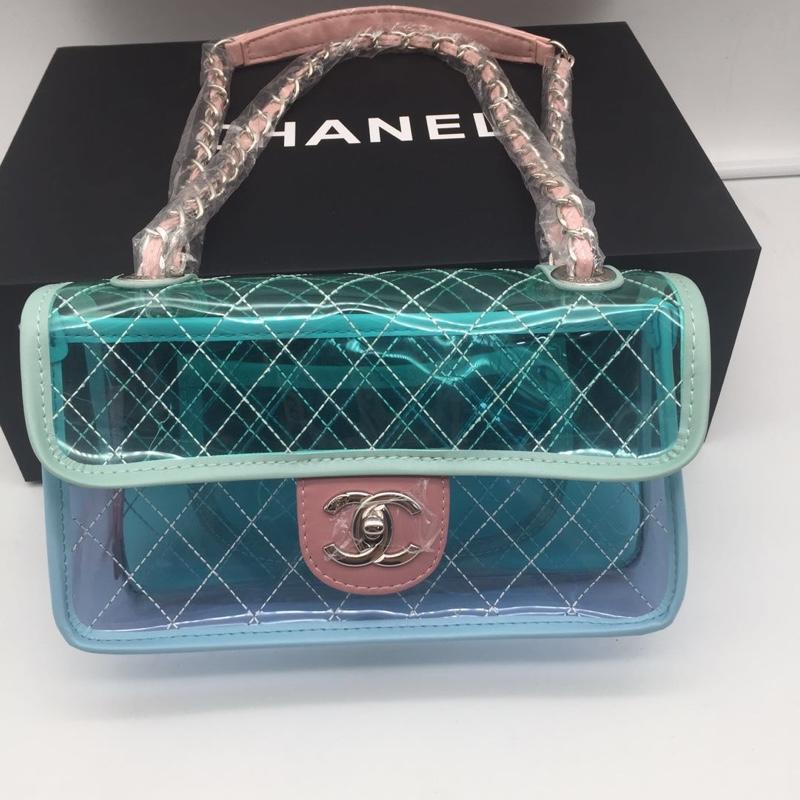Chanel Flap Bag PVC Lambskin Silver tone Metal Blue Green Pink