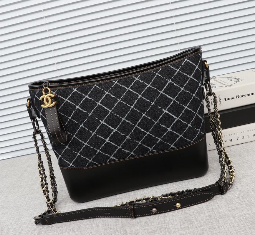 Chanel Gabrielle Large Hobo Bag Denim Calfskin Silver-Tone Gold-Tone Metal Black
