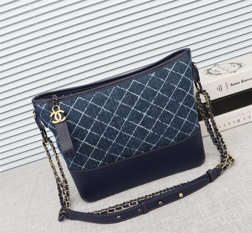 Chanel Gabrielle Large Hobo Bag Denim Calfskin Silver-Tone Gold-Tone Metal Blue