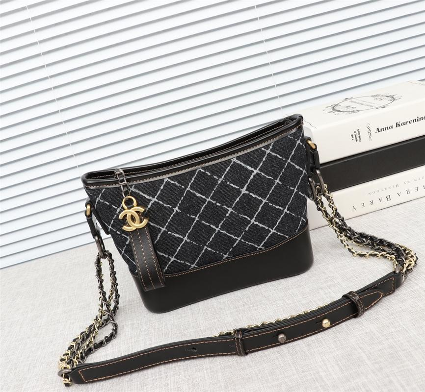 Chanel Gabrielle Small Hobo Bag Denim Calfskin Silver-Tone Gold-Tone Metal Black
