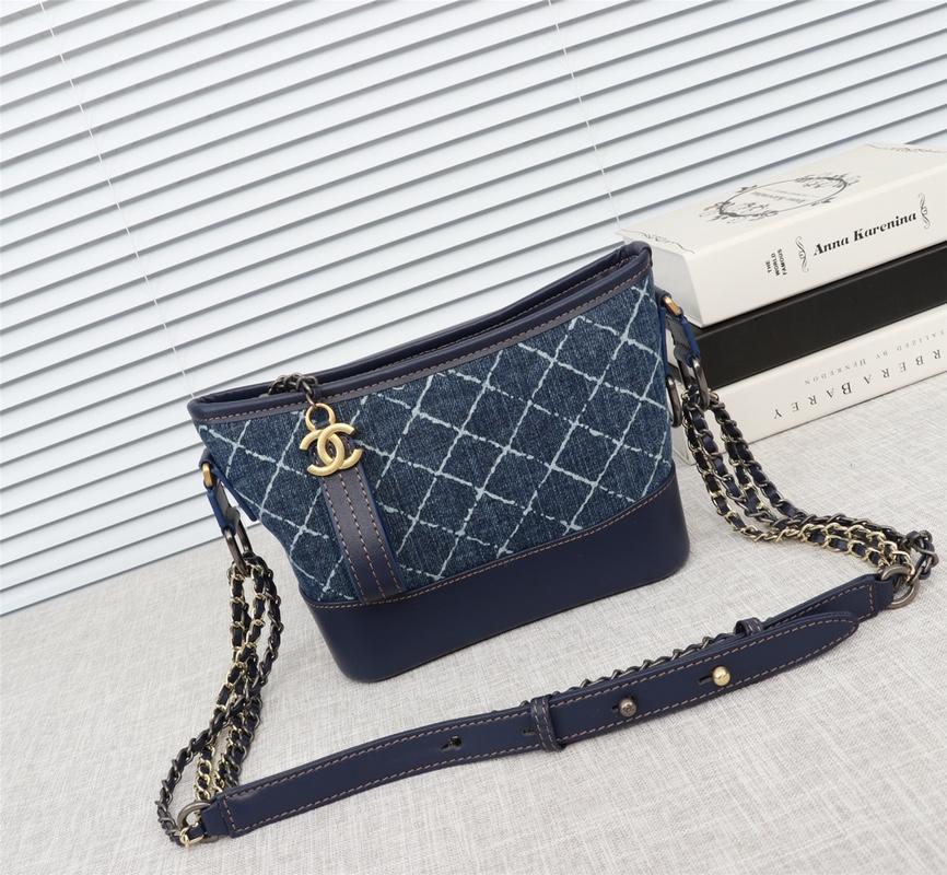 Chanel Gabrielle Small Hobo Bag Denim Calfskin Silver-Tone Gold-Tone Metal Blue