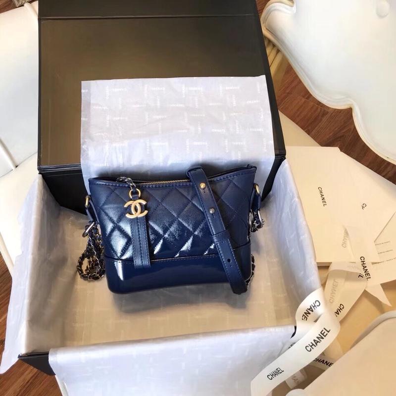 Chanel Gabrielle Small Hobo Bag Denim Calfskin Silver-Tone Gold-Tone Metal Gradual Blue