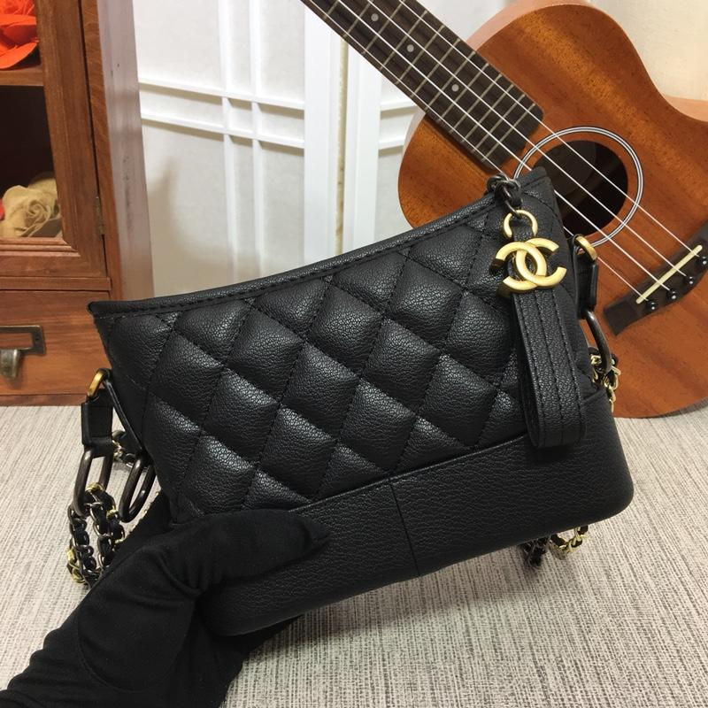 Chanel Gabrielle Small Hobo Bag Goatskin Patent Goatskin Silver-Tone Gold Tone Metal Black