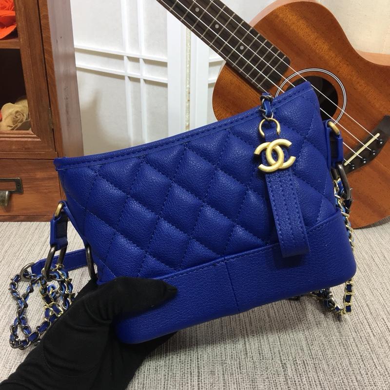 Chanel Gabrielle Small Hobo Bag Goatskin Patent Goatskin Silver-Tone Gold Tone Metal Blue