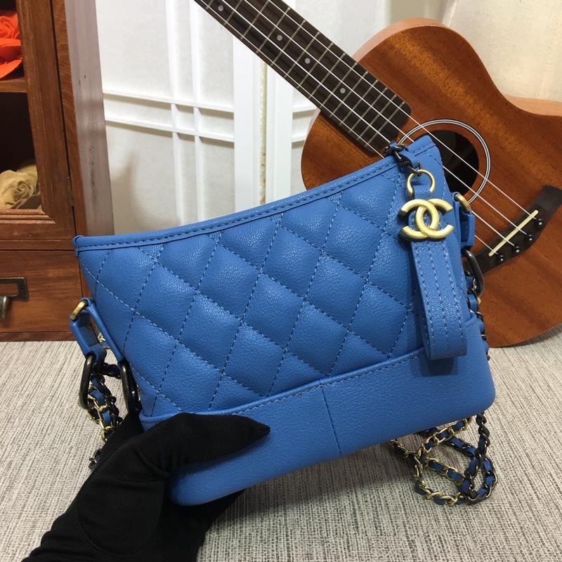 Chanel Gabrielle Small Hobo Bag Goatskin Patent Goatskin Silver-Tone Gold Tone Metal Light Blue