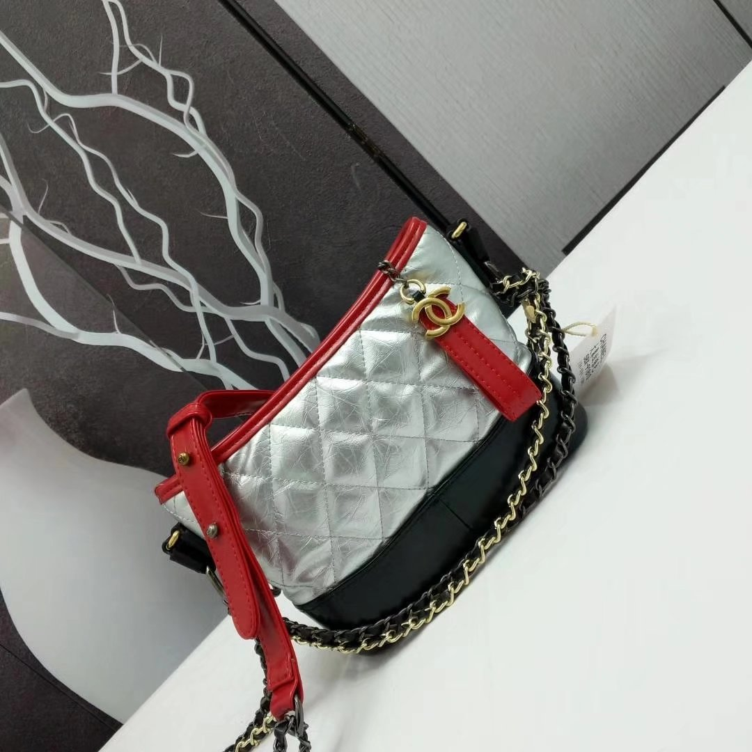 Chanel Gabrielle Small Hobo Bag Silver Goatskin Patent Goatskin Gold Tone Metal