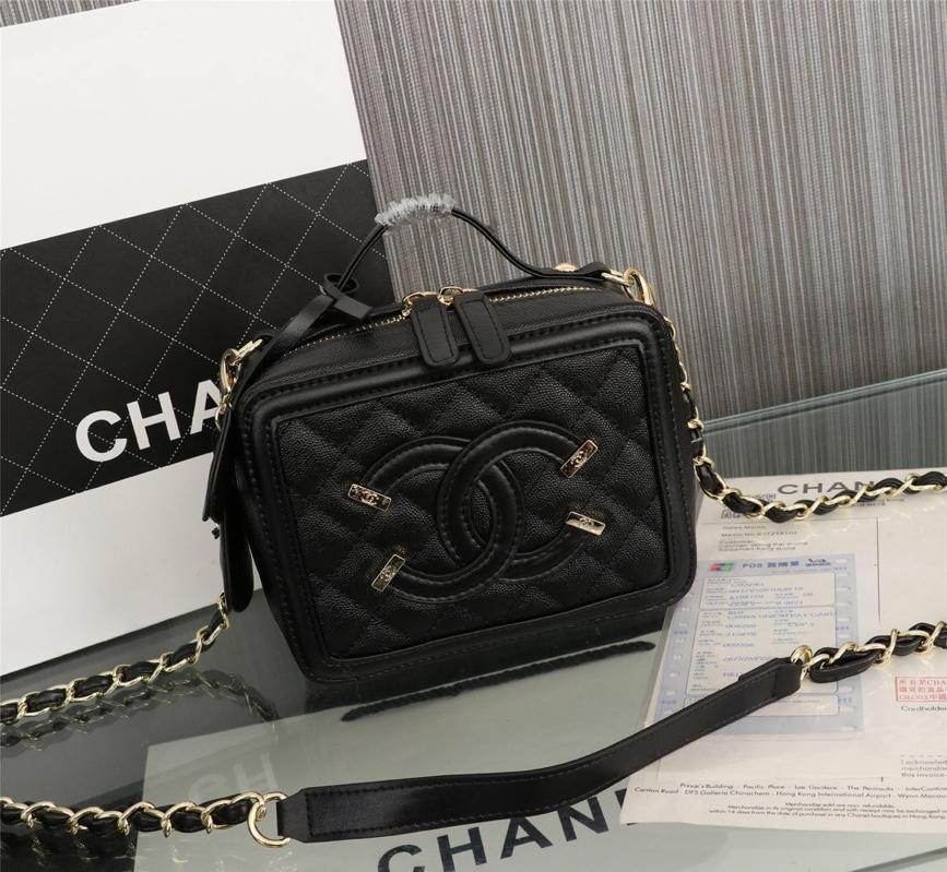 Chanel Vanity Case Grained Calfskin With Gold-Tone Metal Black