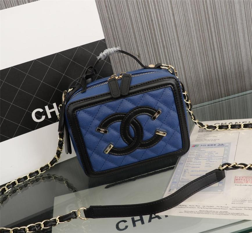 Chanel Vanity Case Grained Calfskin With Gold-Tone Metal Blue