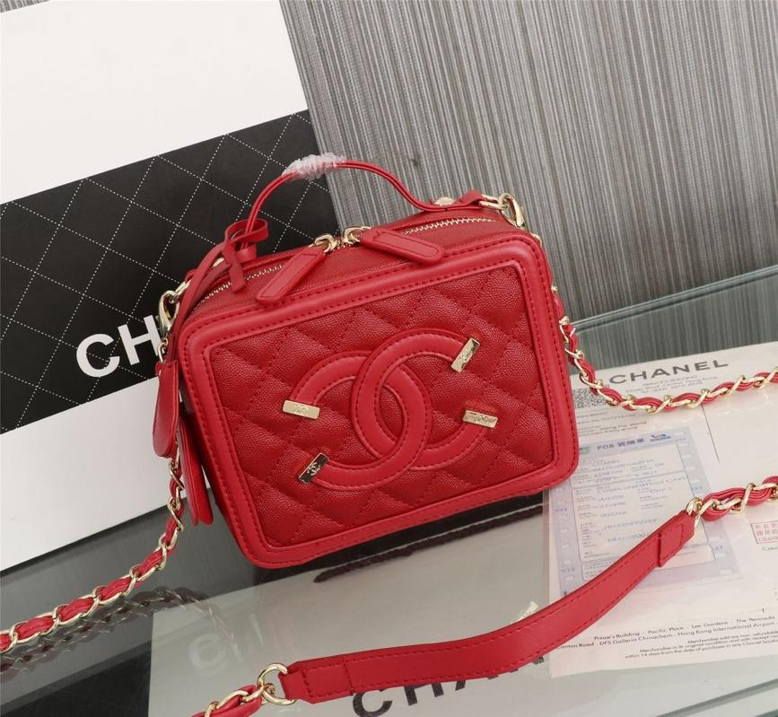 Chanel Vanity Case Grained Calfskin With Gold-Tone Metal Red