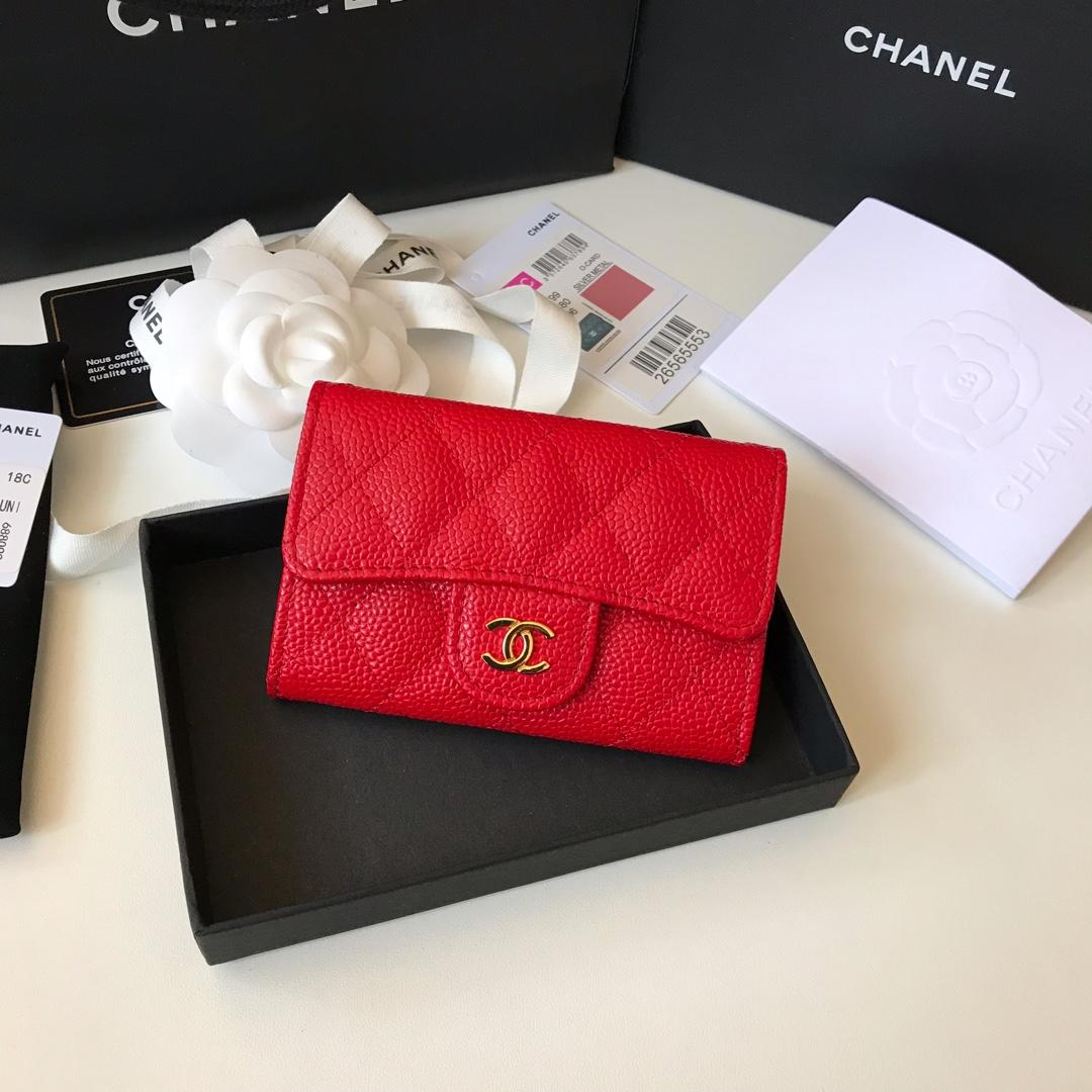 Cheap Chanel CF Card Small Bag Caviar Quilted Genuine Leather Dark Red Gold Hardware
