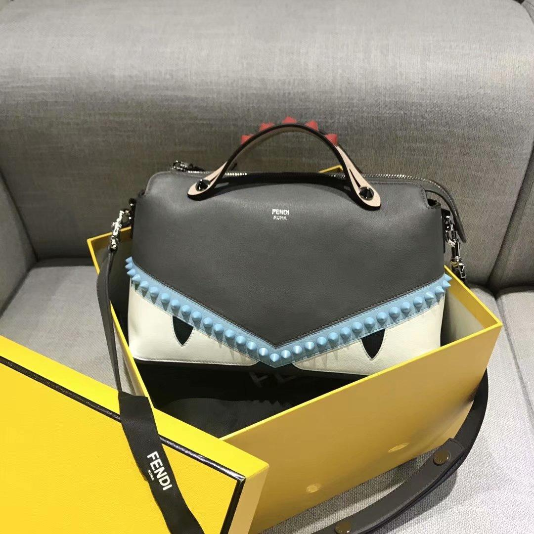 Cheap Fendi BY THE WAY REGULAR Boston Bag with Zip Fastening Blue Studs