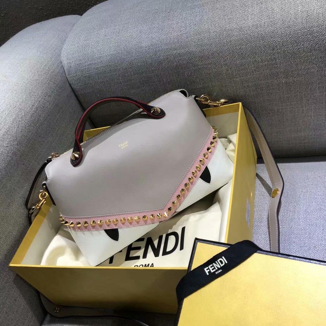 Cheap Fendi BY THE WAY REGULAR Boston Bag with Zip Fastening Grey Pink White