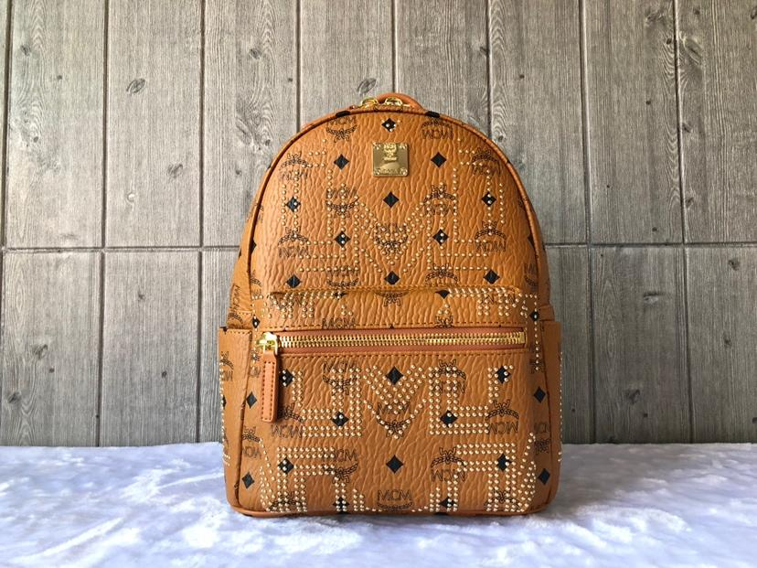 Cheap MCM Small Stark Women Backpack in Gunta M Studs Visetos Cognac
